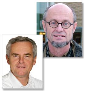 Bengt Järvholm, professor i yrkesmedicin, Umeå universitet och Anders Knutsson, professor emeritus i folkhälsovetenskap, föreläser hos AFA Försäkring.